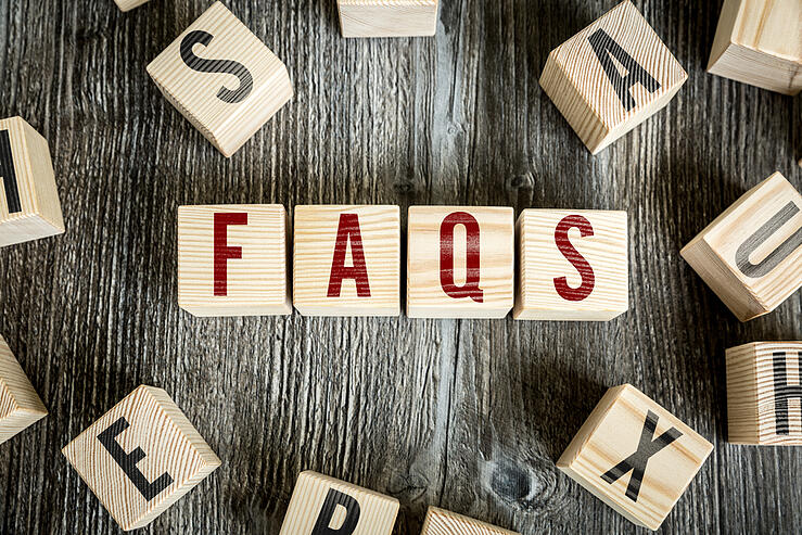 Wooden Blocks with the text Faqs